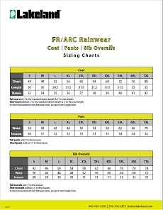 ARC/FR Rainwear Sizing Chart