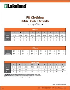FR Clothing Sizing Charts
